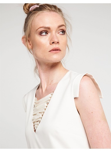 Love'n Fashion Paris Yaka Detaylı Kısa Elbise Ekru